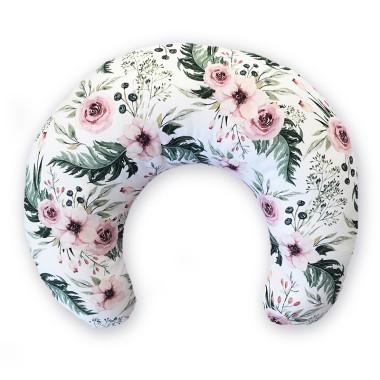 Dwustronna poduszka do karmienia,wykonana z wysokogatunkowej bawełny z pięknym wzorem w pudrowe kwiaty z jednej strony oraz miękkiego minky velvet z drugiej.