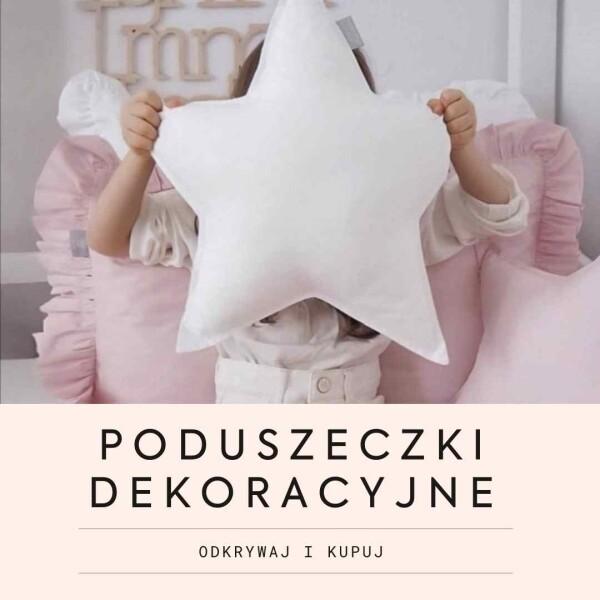 Dekoracyjne poduszki do pokoju dziecięcego, poduszki z falbanką, poduszki z pomponami, poduszki gwiazdka