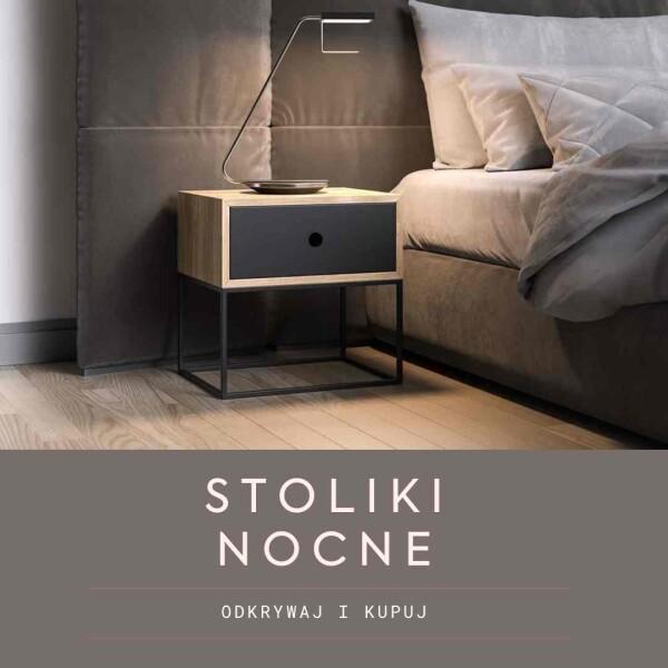 Nowoczesne stoliki nocne, szafki nocne w stylu skandynawskim i loftowym, szafki do sypialni  obok łóżka