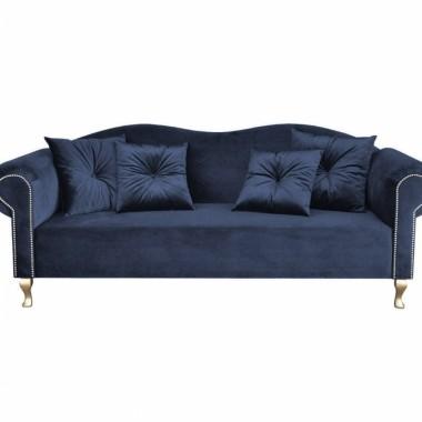 Miękka, elegancka, glamour, aksamitna sofa z klasą do salonu, butiku, sypialni, garderoby lub recepcji.. Granatowa sofa.