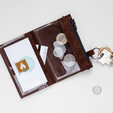 Brązowy minimalistyczny portfel/wizytownik/etui na klucze