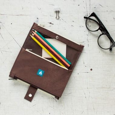 Skórzany, brązowy portfel