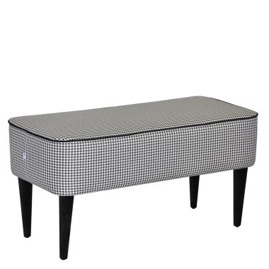 ławeczka wykonana z tkaniny tapicerskiej w pepitkę czarno-białą