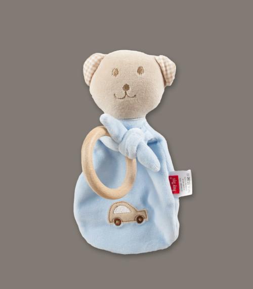 Zabawka do usypiania (miś) z grzechotką i drewnianym gryzakiem