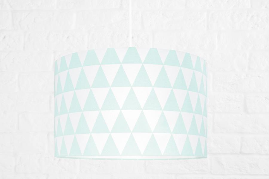 Lampa/ abażur w miętowe trójkąty.