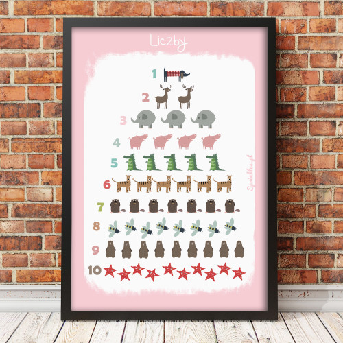 Różowy plakat edukacyjny dla dziecka-liczby-matematyka