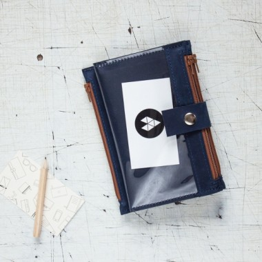 Pocket BIG / Navy BRO - granatowy portfel skórzany