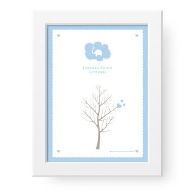 PERSONALIZOWANE Drzewko Życzeń to plakat, na którym goście zostawiają pamiątkowy odcisk palca lub podpis. Pamiątka/prezent dla niemowlaka, który można zawiesić na ścianie.