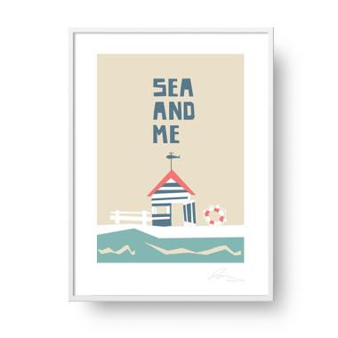 "Plakat ""Sea and Me"" Domek plażowy"