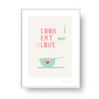 """Plakat """"Cook, Eat, Love"""". Subtelna, stylowa grafika w stylu skandynawskim doda elegancji i ciepła każdemu wnętrzu. Doskonały do kuchni."""