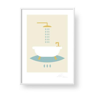 """Przepiękny, unikatowy plakat """"Bath"""". Subtelna, stylowa grafika w stylu skandynawskim"""