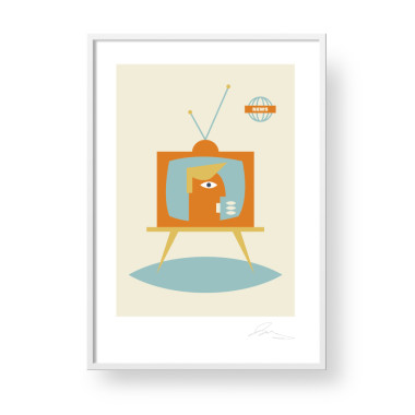 """Przepiękny, unikatowy plakat """"Tv- Window"""". Subtelna, stylowa grafika w stylu skandynawskim."""
