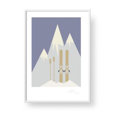 """Przepiękny, unikatowy plakat """"Ski"""" - narty, góry."""