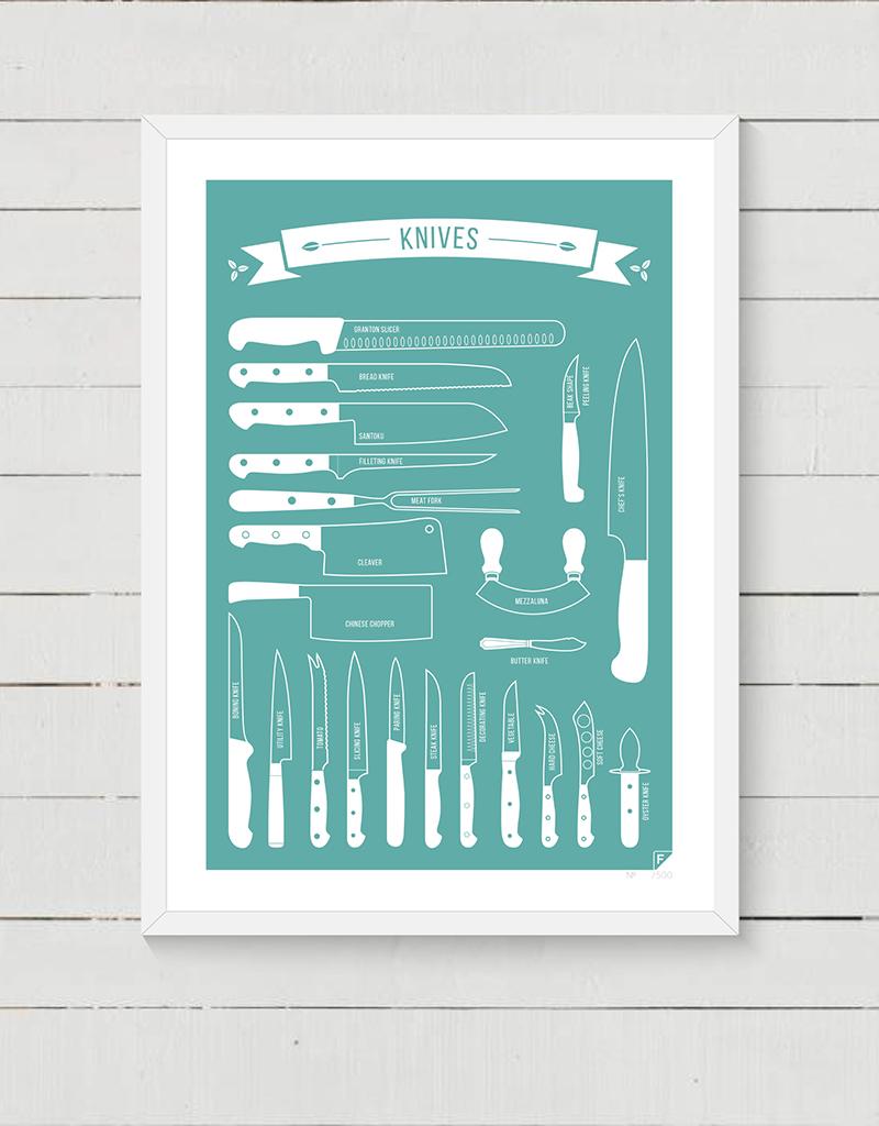 """Knives"" seria skandynawska - kolorowy plakat kuchenny kolorowy"