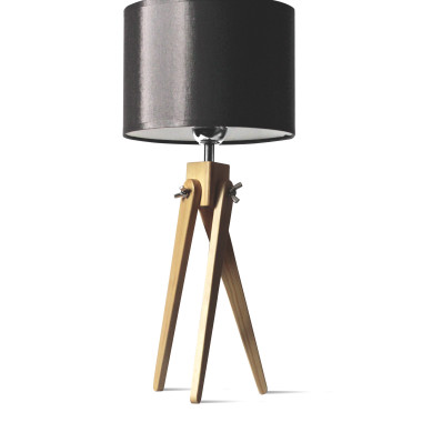 Lamoa sztalugowa-trójnóg z czarnym abażurem i drewnianą podstawą.