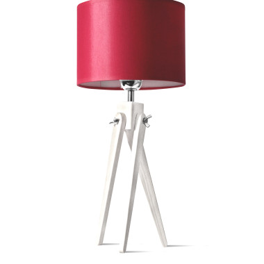 LW16-03-20 Lampa nocna sztalugowa, trójnóg- biało-czerwona.