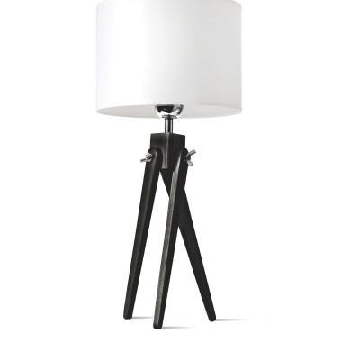 LW16-05-19 Lampa nocna sztalugowa, trójnóg z białym abażurem.