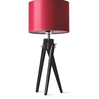 LW16-05-20 Lampa nocna sztalugowa, trójnóg z czerwonym abażurem.