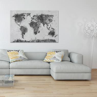 Mapa świata w czerni i bieli - obraz