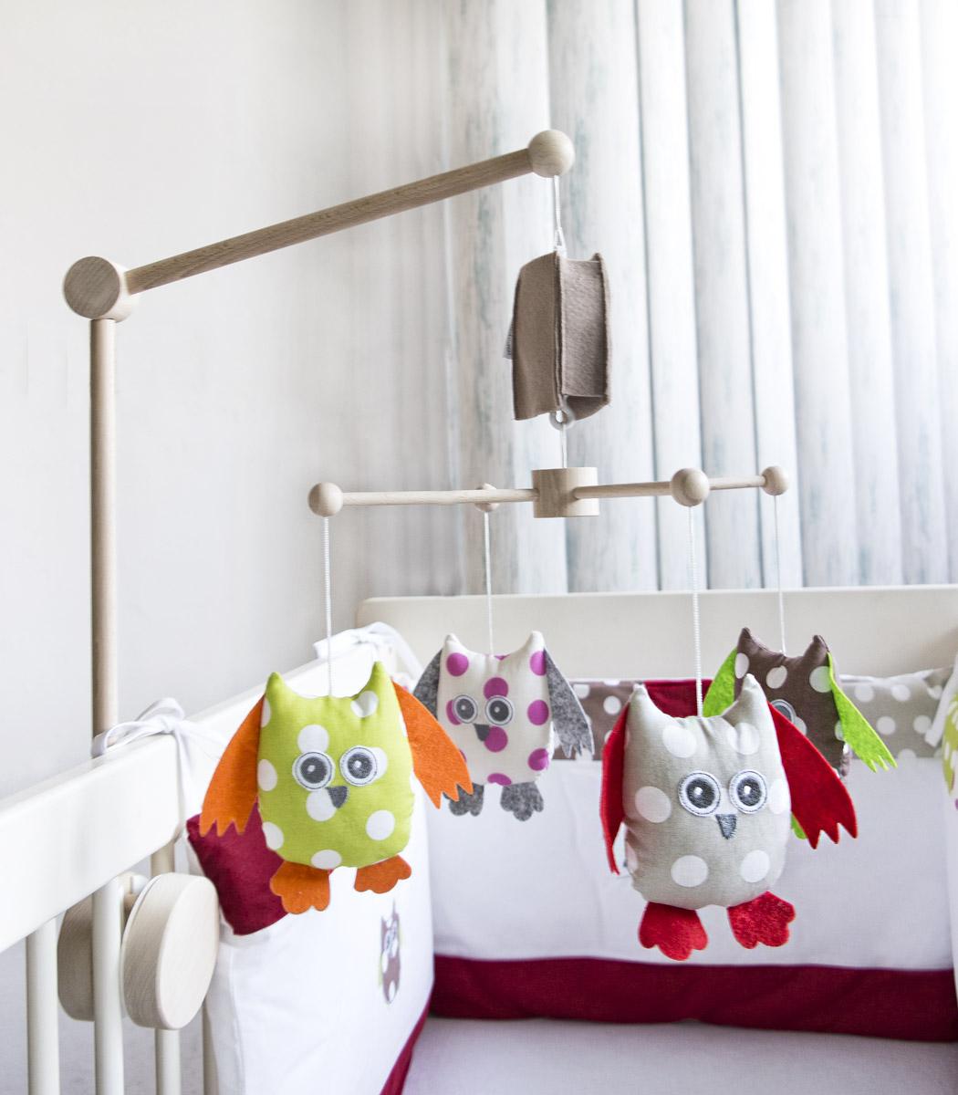 Sowy - karuzela do łóżeczka z obrotową pozytywką