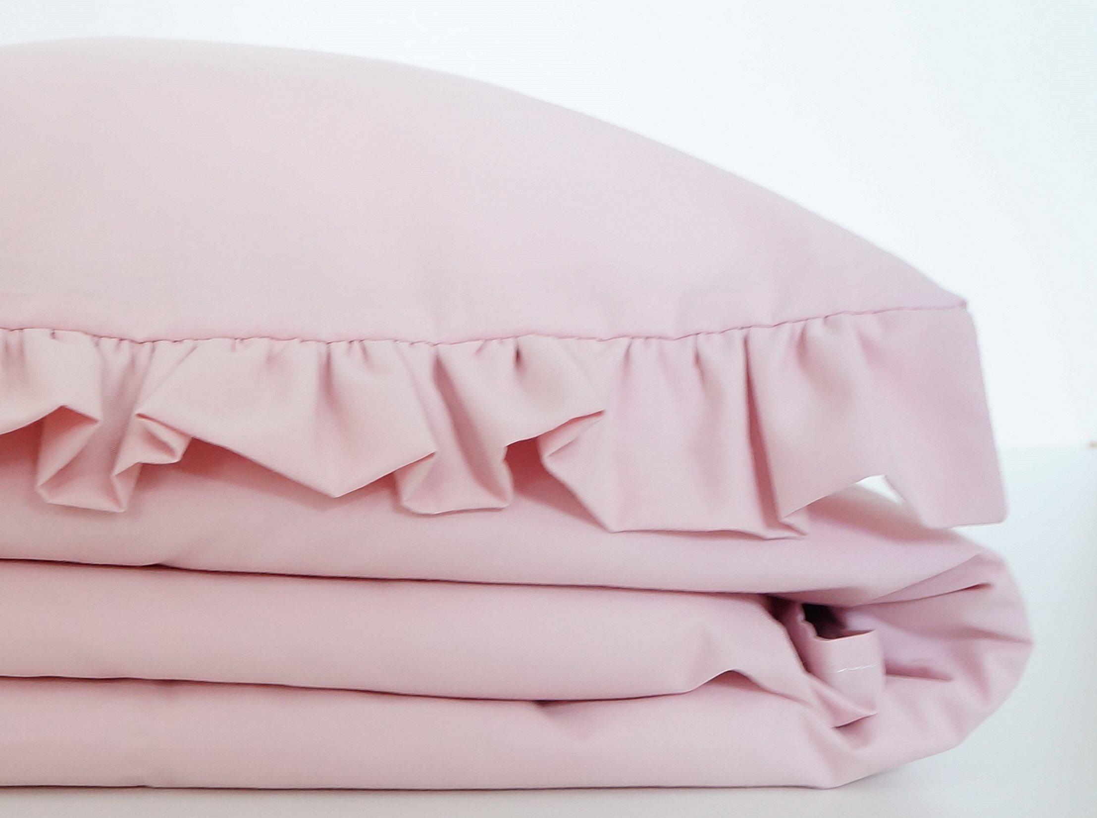 Dziecięca pościel do łóżeczka w kolorze pudrowy różowy z falbanką