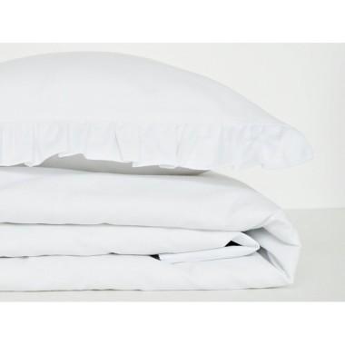 Dziecięca pościel do łóżeczka w kolorze białym z falbanką