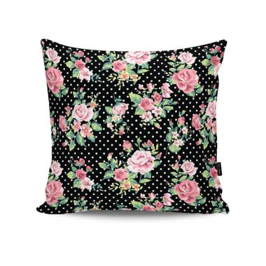 Poduszka - Dots & Roses. Kropki i róże.