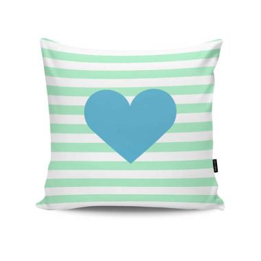 Poduszka - Striped Cyan Heart. Poduszka z sercem. Turkus/mięta/zielony/ niebieski.