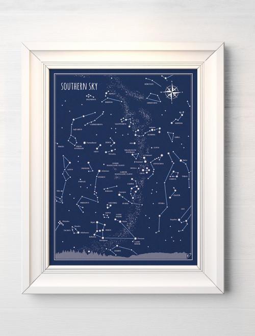 Plakat 30x40 cm - Niebo Południowe - gwiazdozbiory