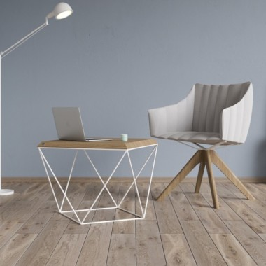 Minimalistyczny nowoczesny stolik kawowy z blatem z litego drewna dębowego olejowany lub lakierowany