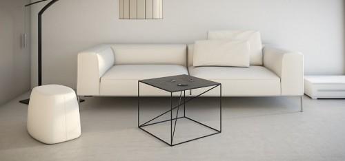 Stalowy, nowoczesny, minimalistyczny stolik tak me Home.