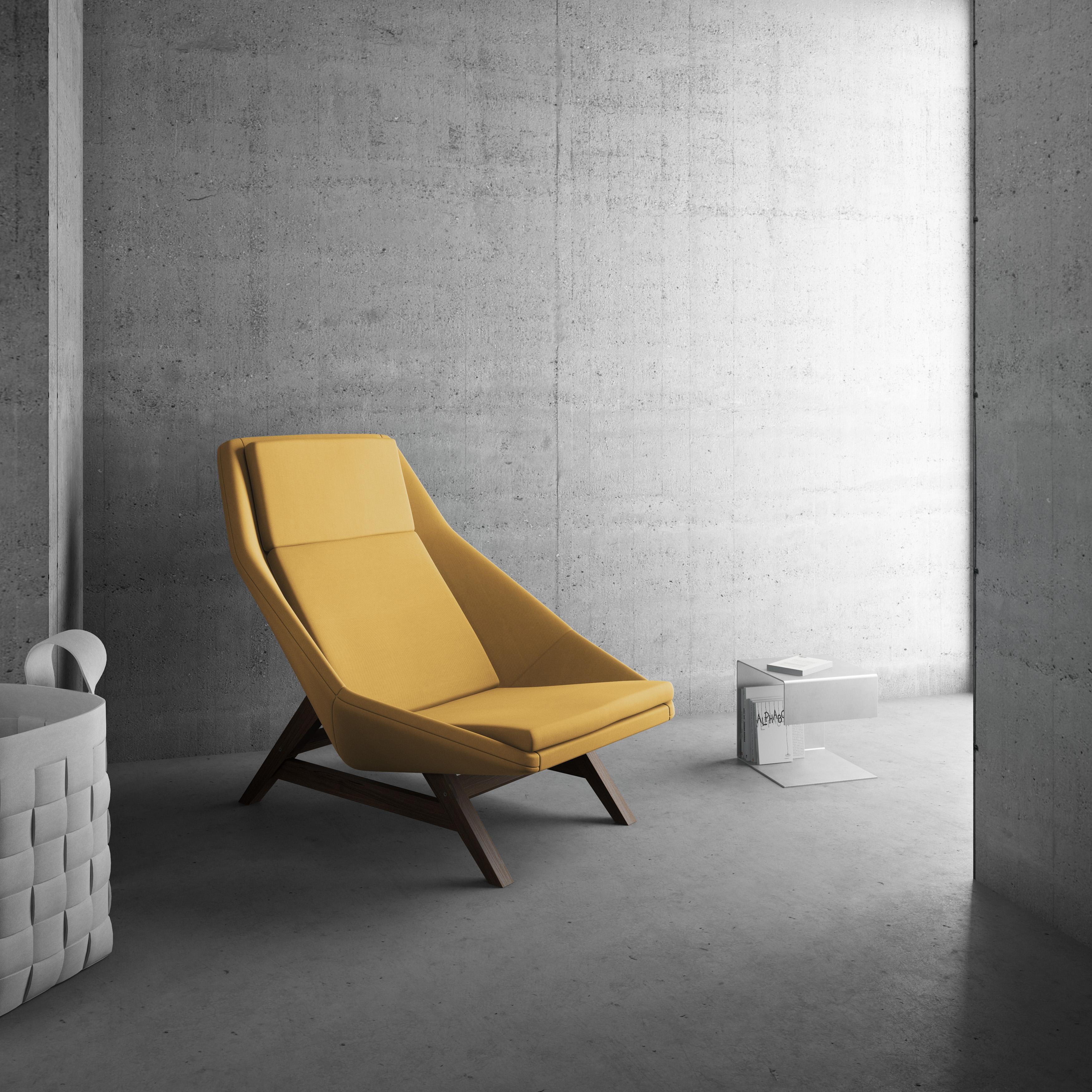 Fotel_MITO_Fotel do wypoczynku. Jest duży i bardzo komfortowy. Jego kształt przyciąga uwagę.Żółty.