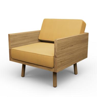 Duży dębowy fotel. Masywny mebel, który dzięki zastosowaniu owalnych, cienkich nóżek wygląda lekko i zgrabnie.Melyo.Zółty.
