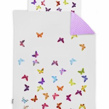 Pościel dla dziewczynki, przedszkolaka. Kolor różowy i biały w kolorowe motylki.