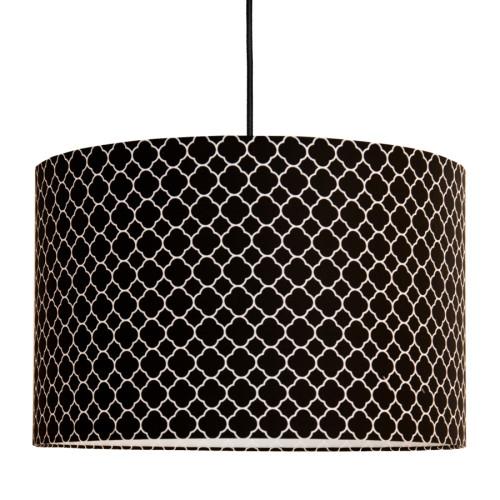 Abażur - Lampa sufitowa czarna z wzorem koniczyny marokańskiej - drobny wzór.Young Deco.