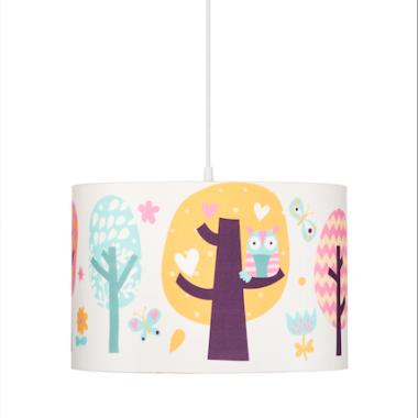 Oryginalna lampa wisząca/ żyrandol do pokoju dzieci z kolorowym abażurem.SOWIE OPOWIEŚCI.