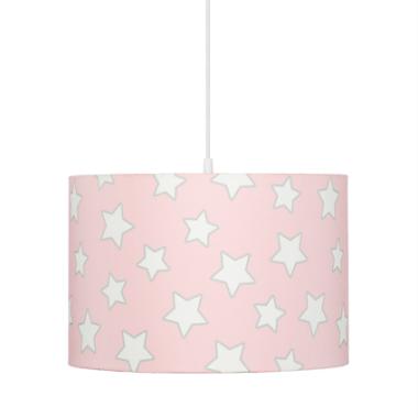 Oryginalna lampa wisząca/ żyrandol do pokoju dzieci z kolorowym abażurem.Różowa w gwiazdki.