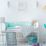 Ochrania do łóżeczka dziecięcego-miętowy w gwiazdki