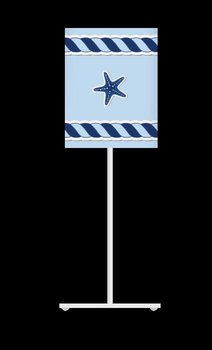 Lampka nocna z nadrukiem-kolorowy abażur w stylu marynarskim.Niebieska. Lotari.