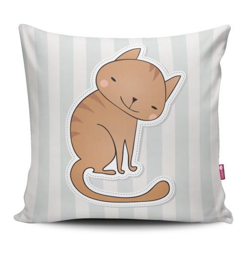 Miękka ozdobna poduszka z kolorowym nadrukiem kotka- dla dziecka