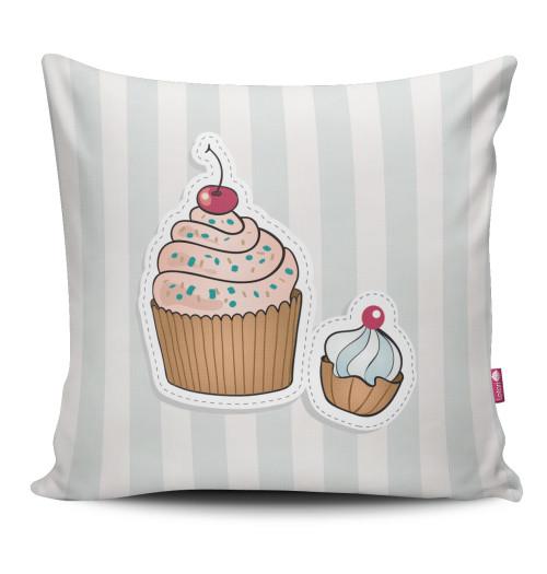 Miękka ozdobna poduszka z kolorowym nadrukiem babeczki/muffinka- dla dziecka