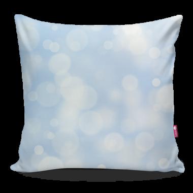 Miękka ozdobna poduszka z kolorowym nadrukiem- niebieska świąteczna.