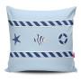 Miękka ozdobna poduszka z kolorowym nadrukiem w stylu marynarskim-do dziecięcego pokoju.