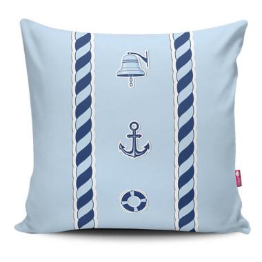 Miękka ozdobna poduszka z kolorowym nadrukiem w stylu marynarskim-do dziecięcego pokoju.Niebieska.