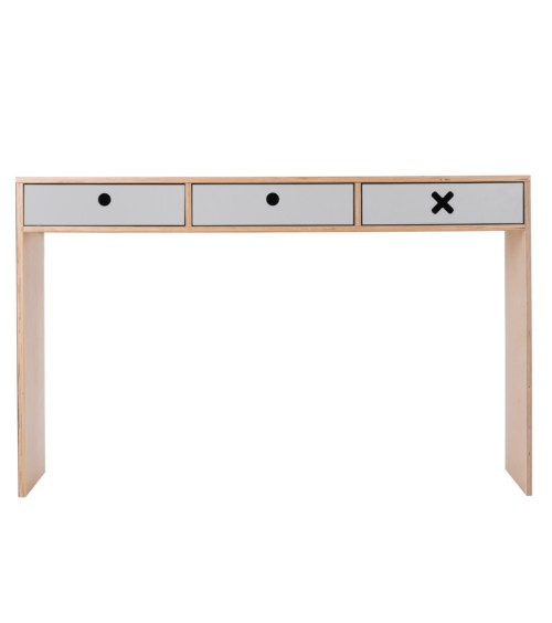 Szare, designerskie biurko z kolekcji kółko i krzyżyk-idealne do pokoju dziecka, nastolatka czy domowegou biura.