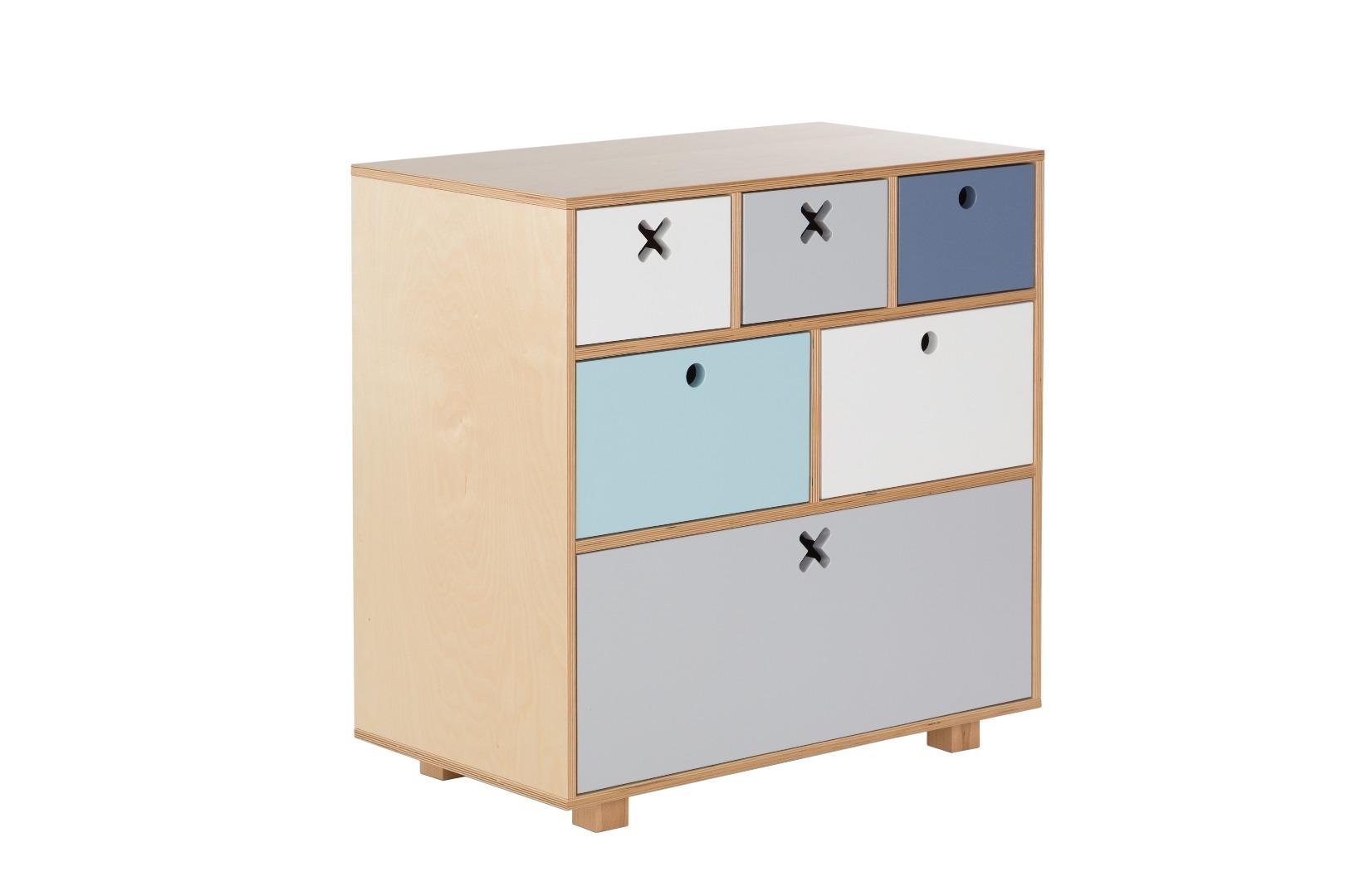 Ciekawa komoda z motywem kółka i krzyżyka do pokoju dziecięcego, salonu, sypialni a nawet przedpokoju -pastelowa..