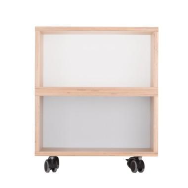 Zgrabny kontenerek z dwoma półkami wykonany z sklejki brzoza.