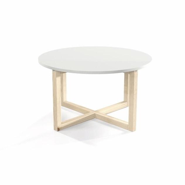 Stolik kawowy CROSSDES 80 z białym okrągłym blatem i drewnianymi nogami