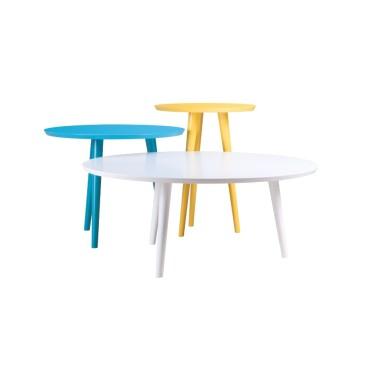 Komplet lekkich fantazyjnych stolików Twee.Stoliczki sprawdzają się zarówno jako ławy; stoliki kawowe lub elementy dekoracyjne