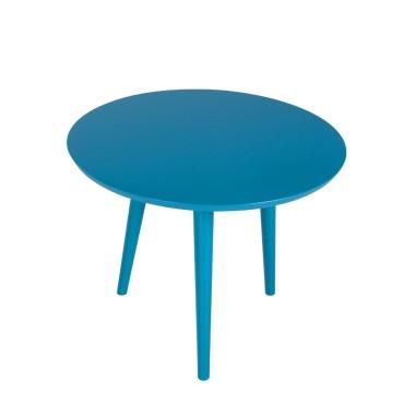 Niebieski, lekki fantazyjny stolik kawowy. Delikatny i jednocześnie elegancki kształt blatu wpasuje się do każdego wnętrza.Stoliczki sprawdzają się zarówno jako ławy; stoliki kawowe lub elementy dekoracyjne.
